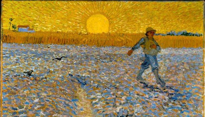 Schilderij met akker en man die zaait: Geloof in wat je zaait - Wees als een kunstenaar - De Nootenkraker voor de Nieuwetijdse Bedrijfscultuur